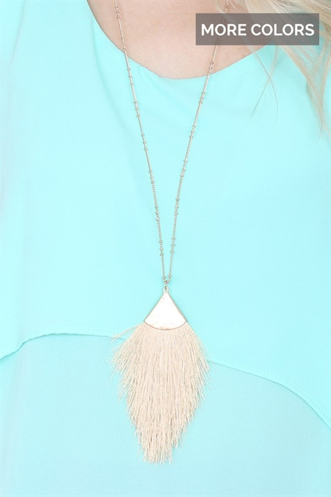 Picture of Hammered Tassel Pendant Necklace