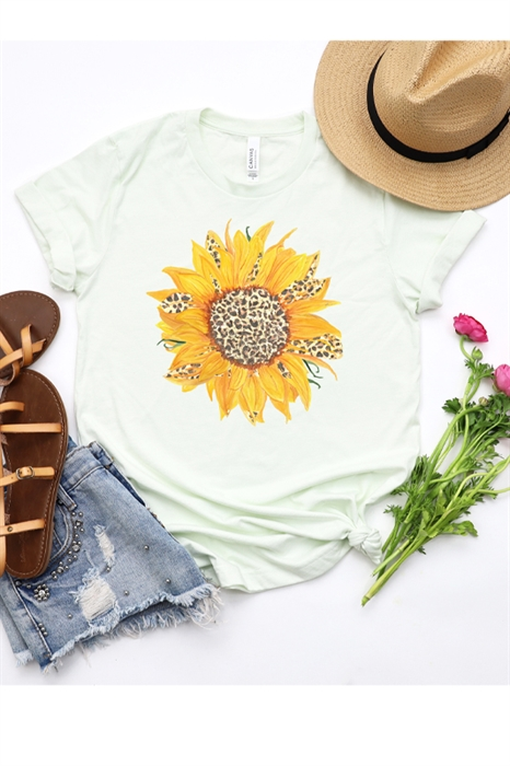 Picture of Leopard Sunflower Graphic Tee