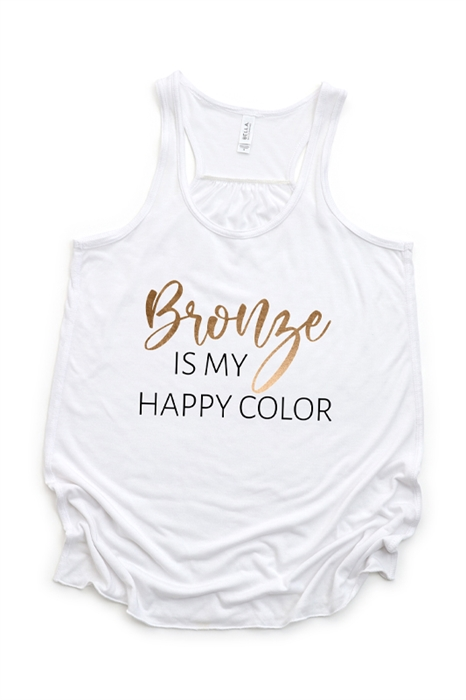 Picture of Bronze Is My Happy Color Flowy Graphic Tank