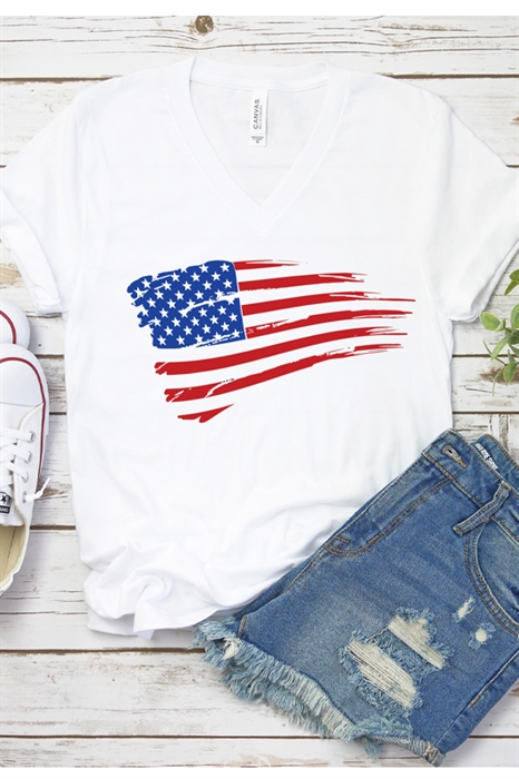 Picture of Waving Flag V Neck Graphic Tee