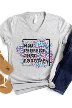Picture of Not Perfect Just Forgiven V-Neck Graphic Tee by FBT