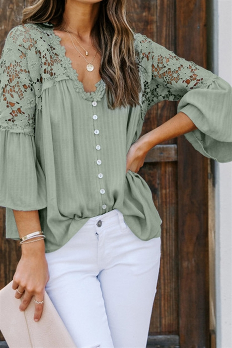 Picture of Sarah Sue Lace Button Up Top | Green