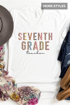 Picture of Back To School Staff Leopard Lettering V-Neck Graphic Tee