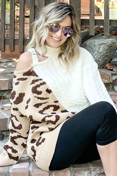 Picture of One Shoulder Leopard Sweater