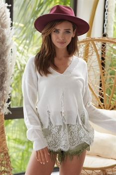 Picture of Scalloped Lace Sweater